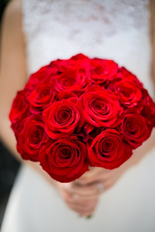 red rose bridal bouquet - Red Garden Rose Bouquet