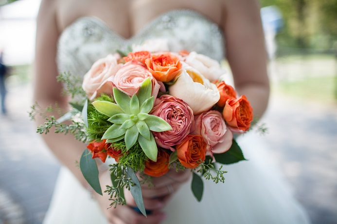 succulent-bridal-bouquet-bold-colors