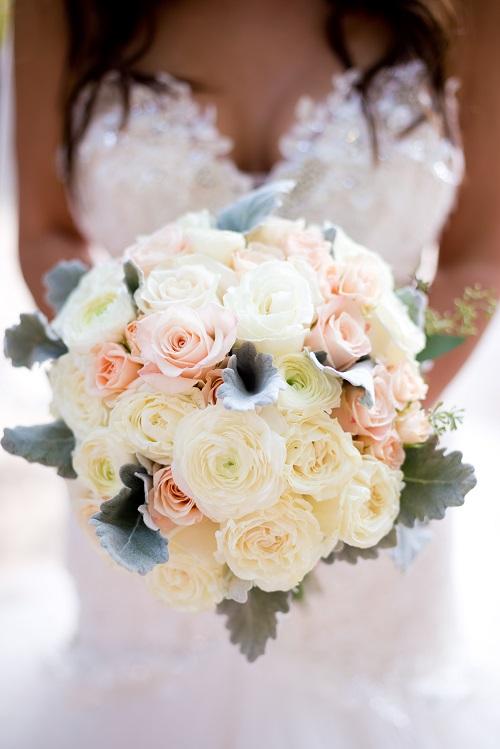 White Garden Rose Peach Bouquet