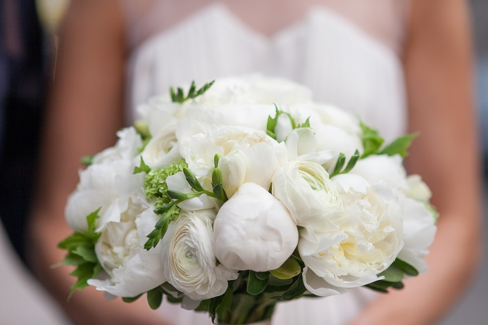 white green bridal bouquet peony ranunculus