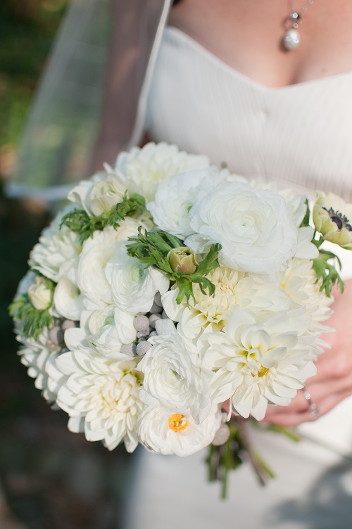 Wedding flower ideas for outdoor weddings white and silver bridal bouquet of roses hydrangea and silver brunia mightylinksfo