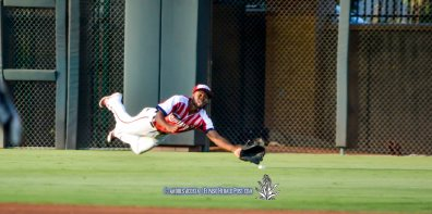 #4 Manuel Margot with the diving attempt during Reno Aces Vs El Paso Chihuahuas, Independence Day Celebration