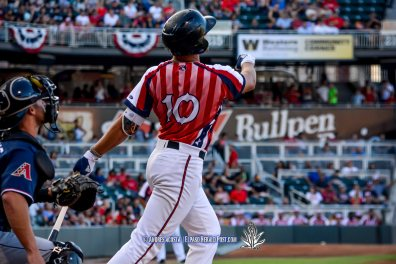 #10 Hunter Renfroe with the Home Run during Reno Aces Vs El Paso Chihuahuas, Independence Day Celebration