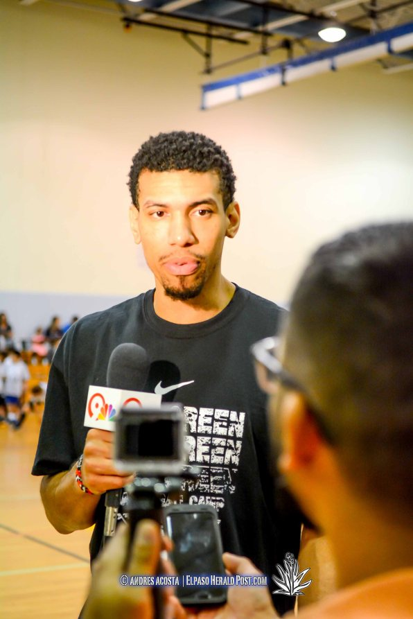 Danny Green of the San Antonio Spurs is seen here speaking with the Media during the 2016 Danny Green Basketball Camp Day 1, Held at the Don Haskins Recreational Center