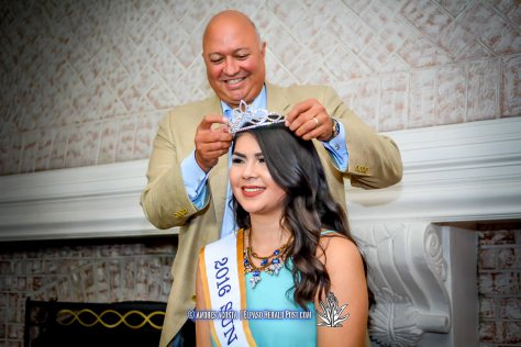 2016 Sun Bowl President Steve Beltran placing the crown on Sun Princess Stephanie Figueroa at the 2016 Sun Court Coronation at the El Paso Country Club