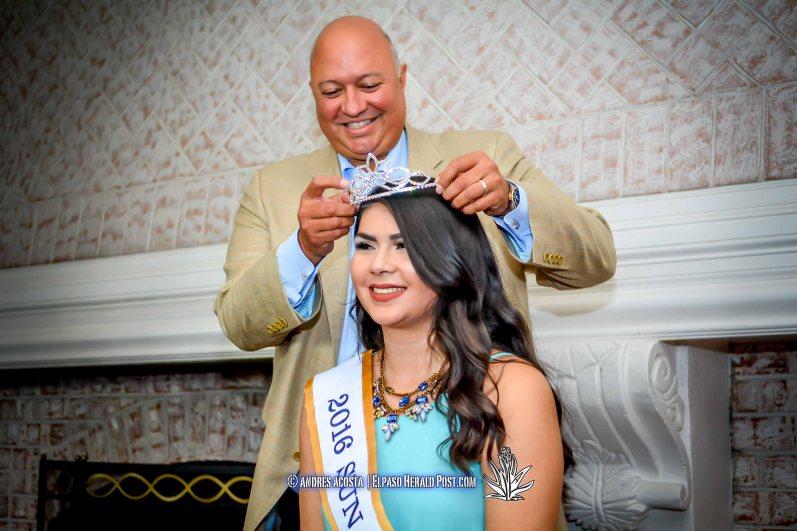 2016 Sun Bowl President Steve Beltran placing the crown on Sun Princess Stephanie Figueroa at the 2016 Sun Court Coronation at the El Paso Country Club