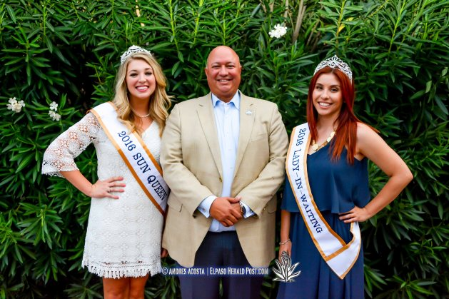 Sun Bowl President Steve Beltran and Sun Queen Katherine Carroll-Miller and Lady In Waiting Clarissa Gardea at the 2016 Sun Court Coronation at the El Paso Country Club