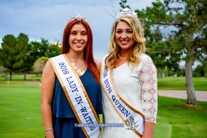 Lady In Waiting Clarissa Gardea (Left) and Sun Queen Katherine Carroll-Miller (Right) at the 2016 Sun Court Coronation at the El Paso Country Club
