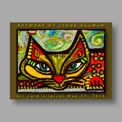 Signed ACEO *Whimsical Cat #087* by Lynne Neuman