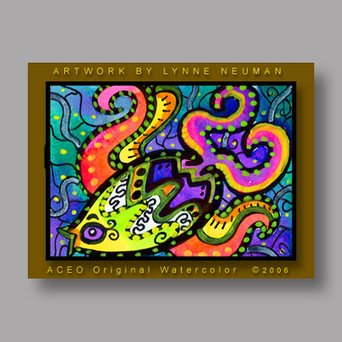 Signed ACEO *Whimsical Fish #207* by Lynne Neuman