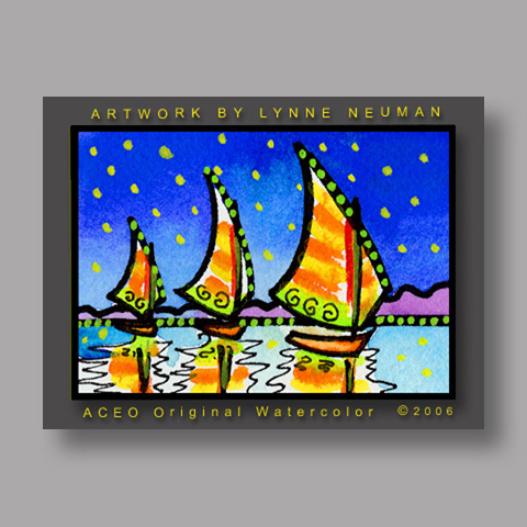 Signed ACEO *Three Sailboats #276* by Lynne Neuman