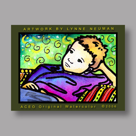 Signed ACEO Print *Boy Waiting #374* by Lynne Neuman