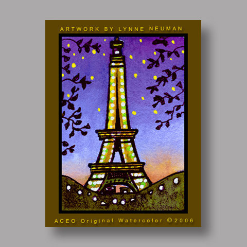 Signed ACEO Print *Eiffel Tower Paris France #518* by Lynne Neuman