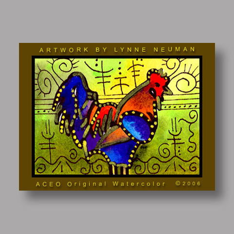 Signed ACEO Print *Rooster #524* by Lynne Neuman