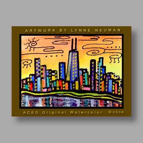 Signed ACEO *Chicago Skyline #552* by Lynne Neuman