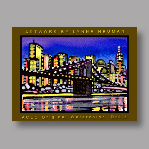 Signed ACEO Print *Brooklyn Bridge New York #561* by Lynne Neuman