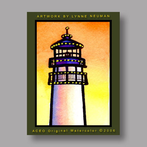 Signed ACEO *Lighthouse #576* by Lynne Neuman