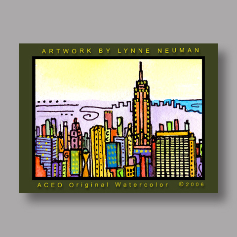 Signed ACEO Print *New York City Skyline #657* by Lynne Neuman