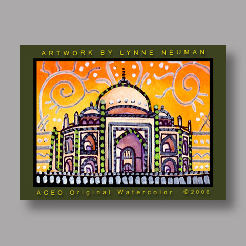 Signed ACEO Print *Taj Mahal India #688* by Lynne Neuman