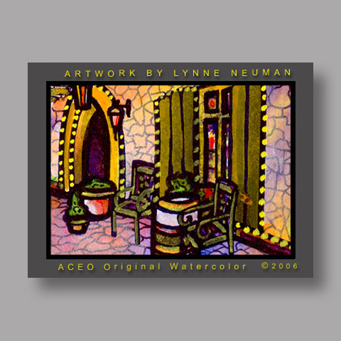 Signed ACEO *Winery Porch #741* by Lynne Neuman