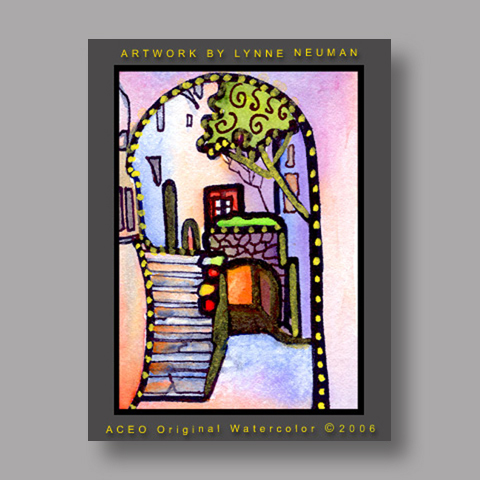 Signed ACEO *Stairway Greece #751* by Lynne Neuman