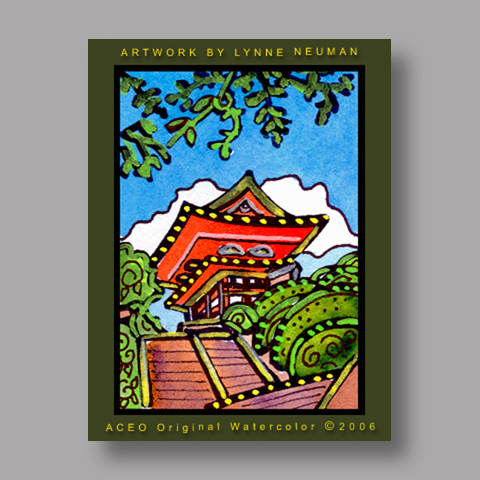 Signed ACEO *Shrine Kyoto Japan #764* by Lynne Neuman