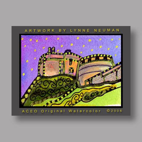Signed ACEO *Edinburgh Castle Scotland #784* by Lynne Neuman