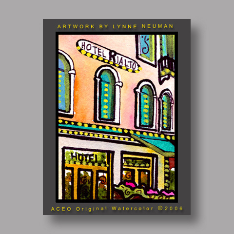 Signed ACEO *Hotel Rialto Venice Italy #1123* by Lynne Neuman