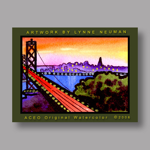 Signed ACEO *Bay Bridge San Francisco #1131* by Lynne Neuman