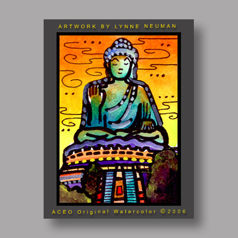 Signed ACEO Print *Buddha China #1136* by Lynne Neuman