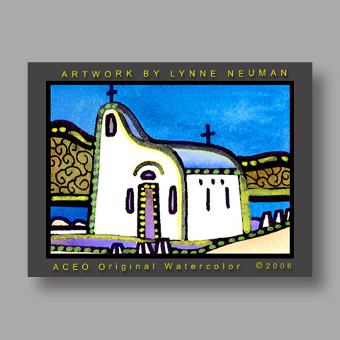 Signed ACEO *Church Greece #1260* by Lynne Neuman