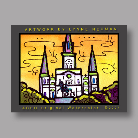 Signed ACEO Print *New Orleans Church #1344* by Lynne Neuman