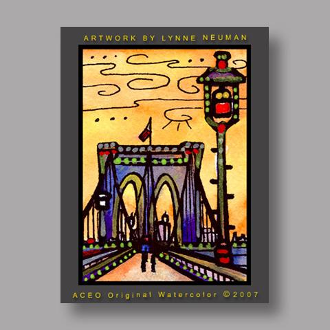 Signed ACEO *Brooklyn Bridge New York #1357* by Lynne Neuman