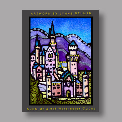 Signed ACEO *Neuschwanstein Castle Germany #1408* by Lynne Neuman