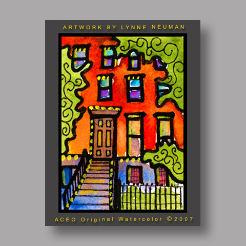 Signed ACEO *New York Brownstone #1413* by Lynne Neuman