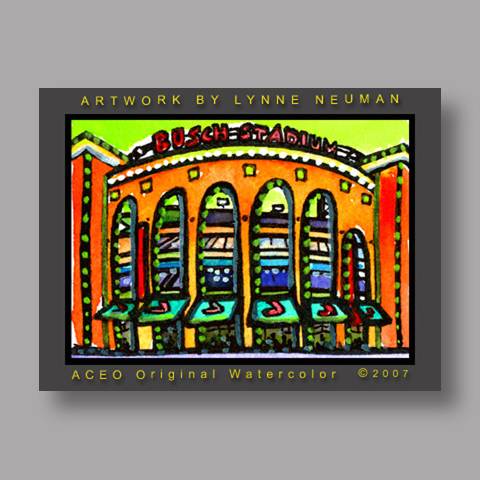 Signed ACEO Print *Busch Stadium St. Louis #1423* by Lynne Neuman