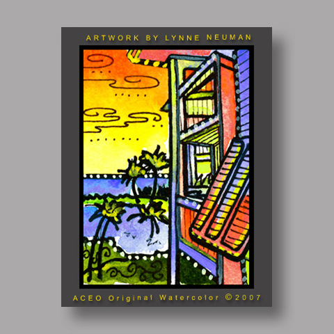 Signed ACEO *Florida Beach Condo #1429* by Lynne Neuman
