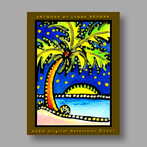 Signed ACEO *Palm Tree #1577* by Lynne Neuman