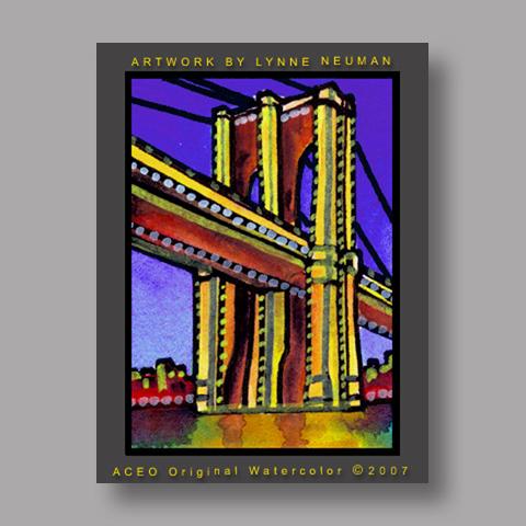 Signed ACEO Print *Brooklyn Bridge New York #1632* by Lynne Neuman