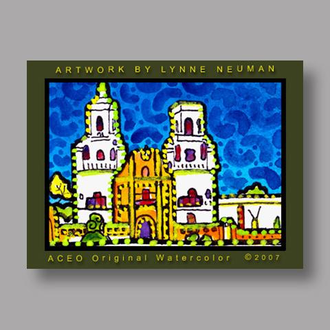 Signed ACEO *San Xavier Tucson Arizona #1666* by Lynne Neuman