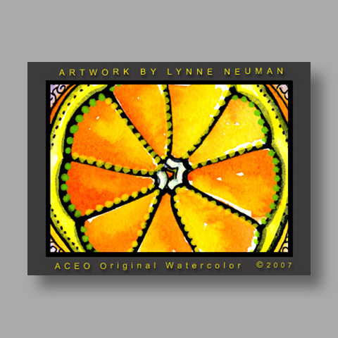 Signed ACEO Print *Sliced Orange Fruit #1850* by Lynne Neuman