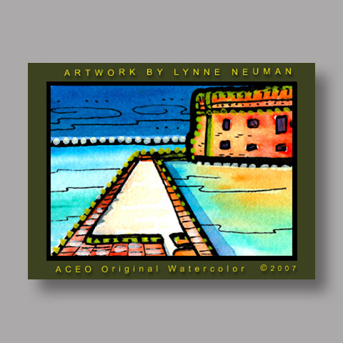 Signed ACEO *Dry Tortugas Fort Jefferson #1918* by Lynne Neuman