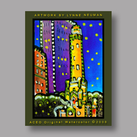 Signed ACEO Print *Chicago Water Tower #1930* by Lynne Neuman