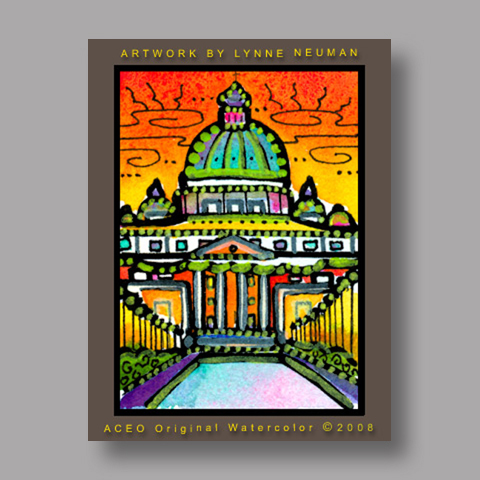 Signed ACEO Print *Vatican City Rome Italy1954* by Lynne Neuman