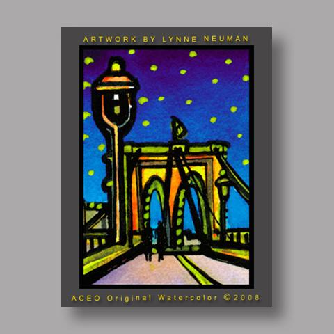 Signed ACEO Print *Brooklyn Bridge New York #1990* by Lynne Neuman