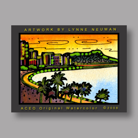 Signed ACEO *Waikiki Hawaii #2077* by Lynne Neuman