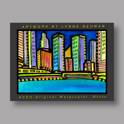 Signed ACEO Print *Chicago River #2094* by Lynne Neuman