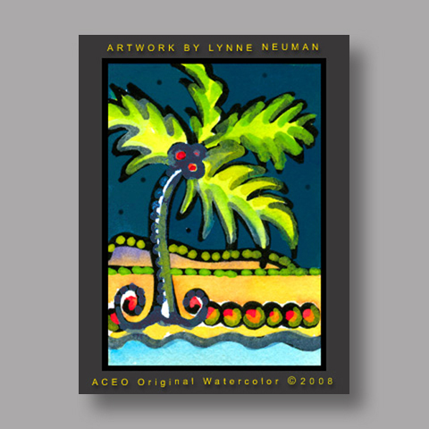 Signed ACEO Print *Palm Tree Beach #2108* by Lynne Neuman