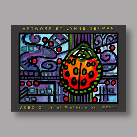 Signed ACEO Print *Red Ladybug #2123* by Lynne Neuman