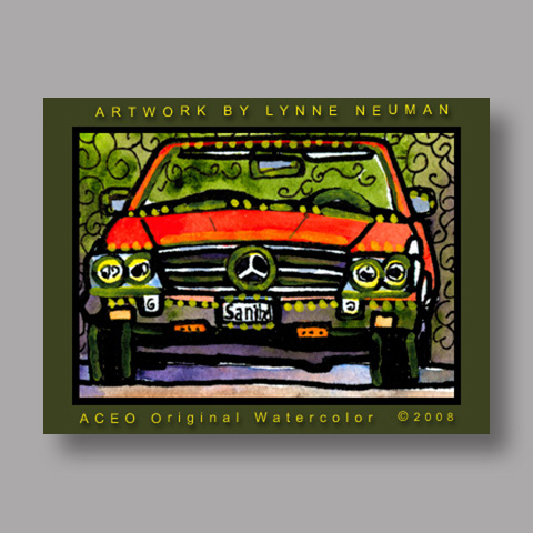 Signed ACEO Print *Red Mercedes Benz #450SL Convertable #2178* by Lynne Neuman